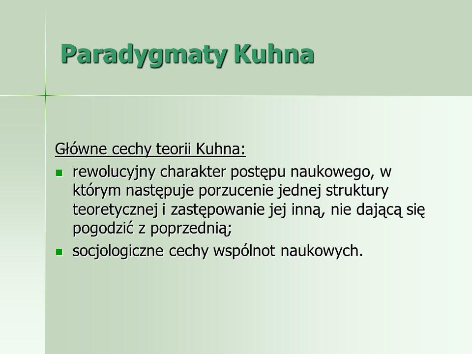 Paradygmaty Kuhna Główne cechy teorii Kuhna: