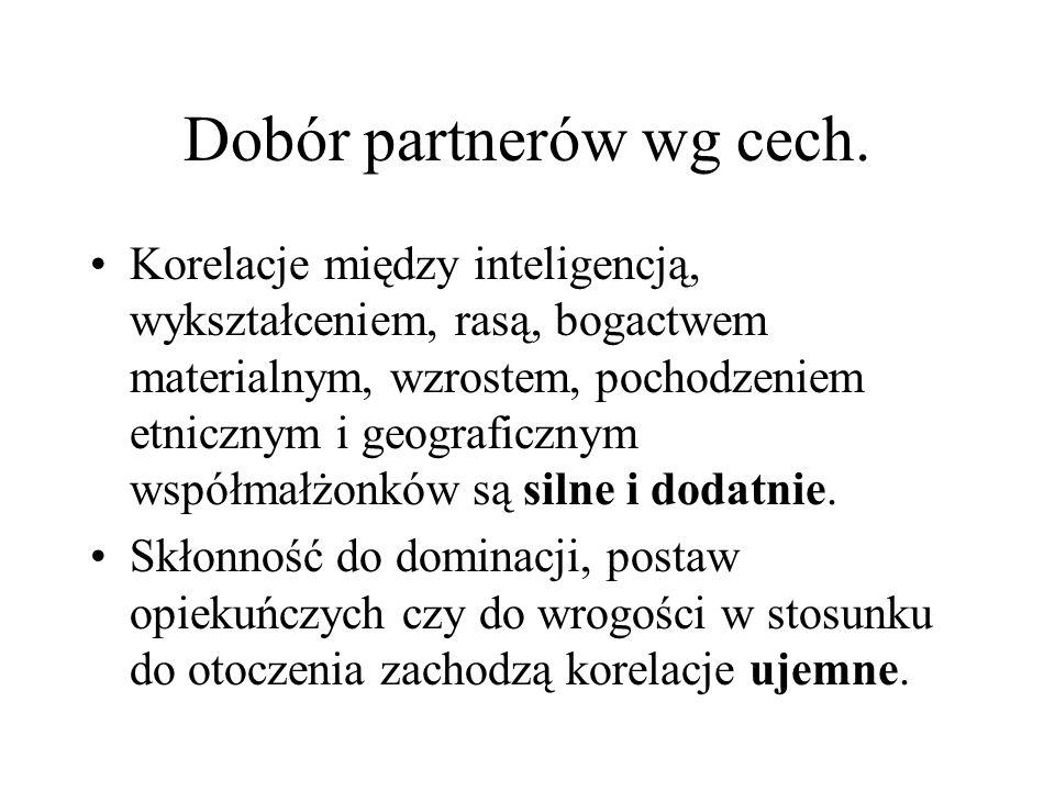 Dobór partnerów wg cech.