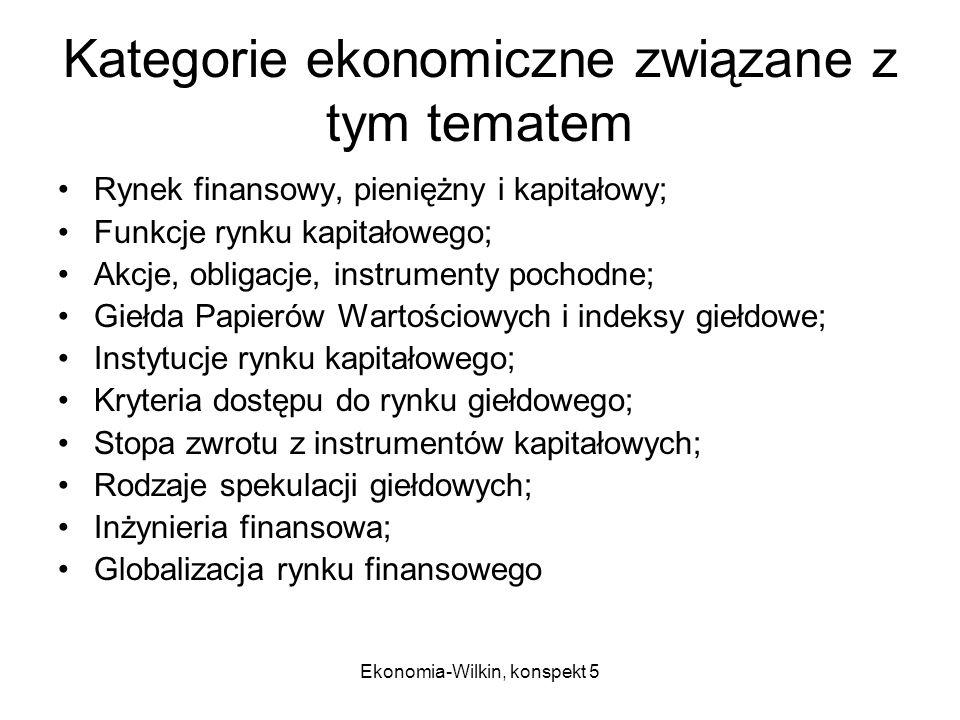 Kategorie ekonomiczne związane z tym tematem