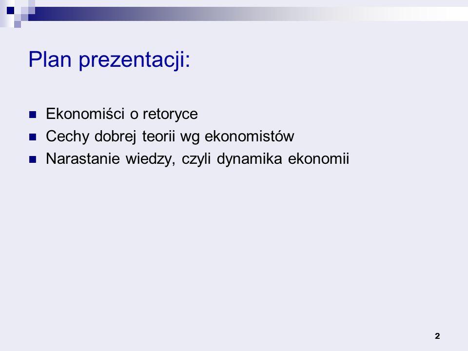 Plan prezentacji: Ekonomiści o retoryce