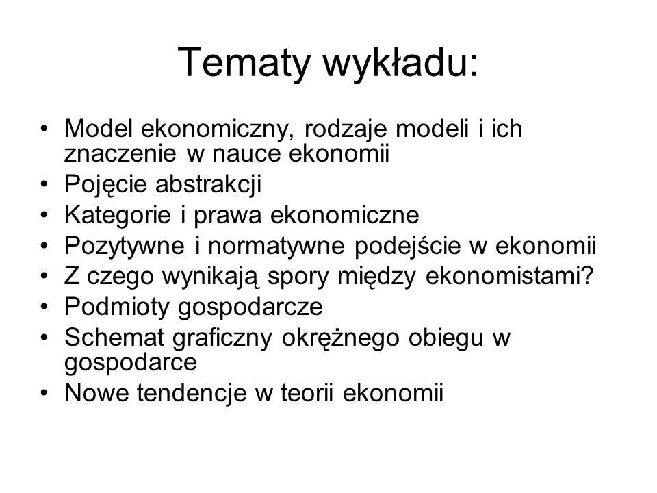 Tematy wykładu:Model ekonomiczny, rodzaje modeli i ich znaczenie w nauce ekonomii. Pojęcie abstrakcji.