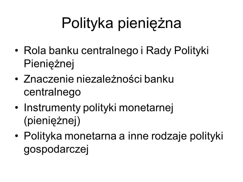 Polityka pieniężna Rola banku centralnego i Rady Polityki Pieniężnej