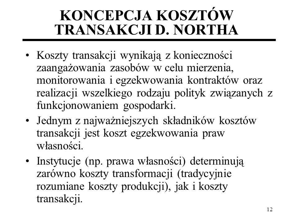 KONCEPCJA KOSZTÓW TRANSAKCJI D. NORTHA