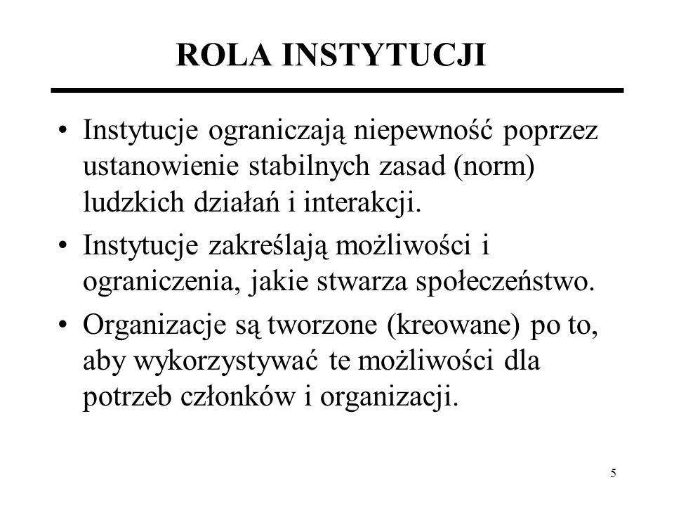 ROLA INSTYTUCJI Instytucje ograniczają niepewność poprzez ustanowienie stabilnych zasad (norm) ludzkich działań i interakcji.