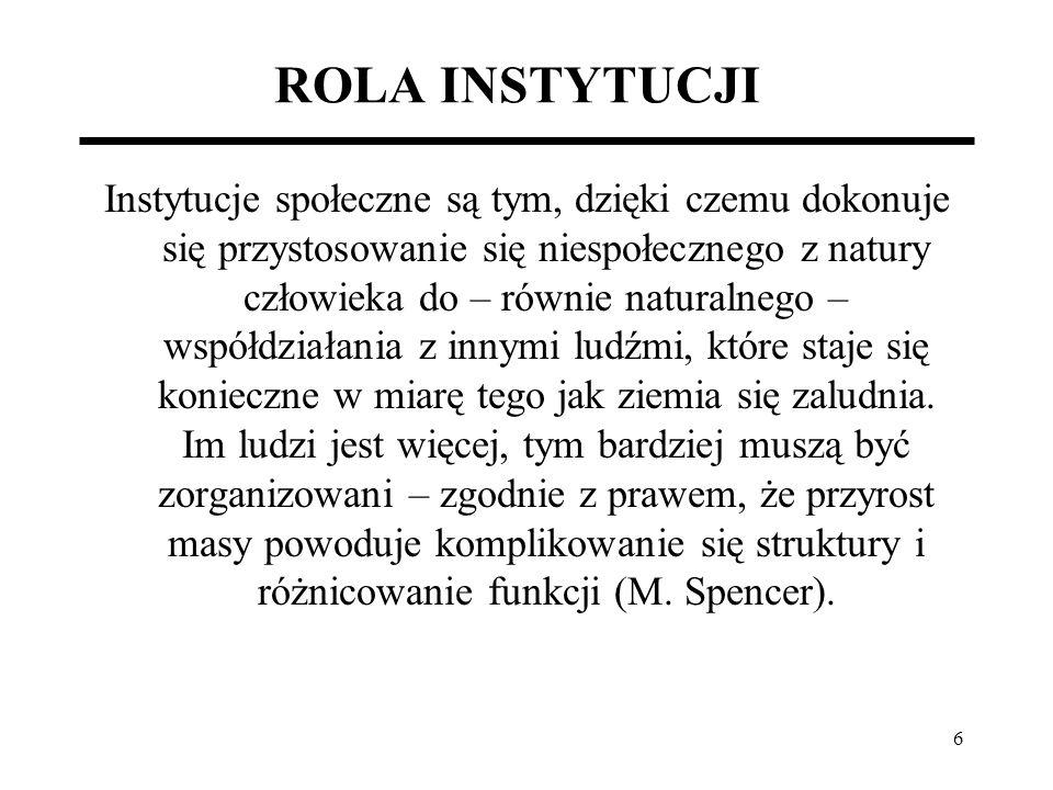 ROLA INSTYTUCJI