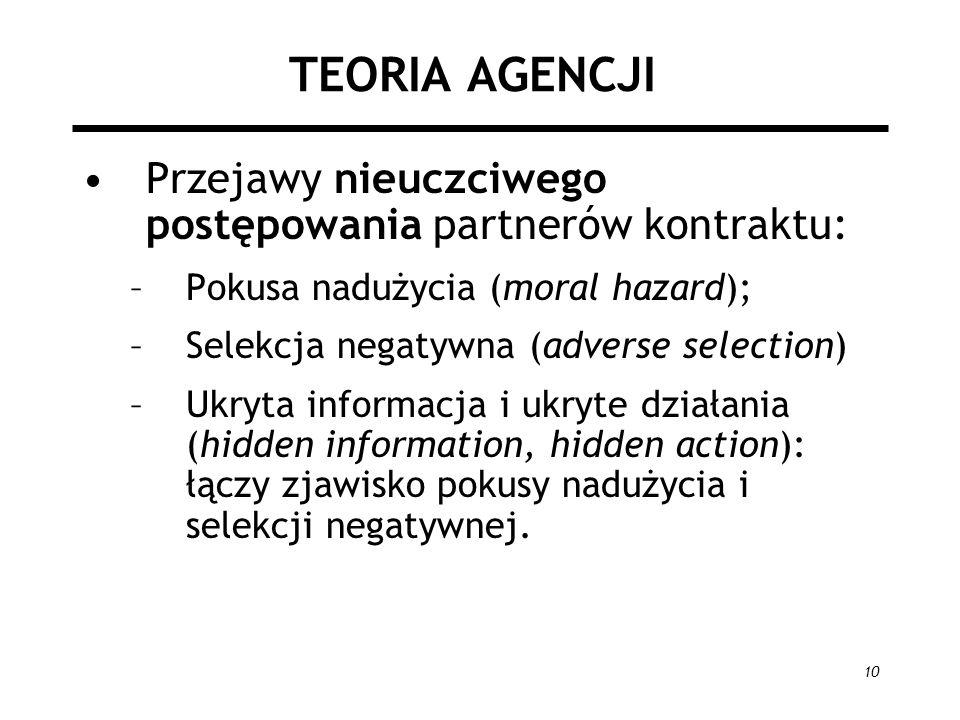 TEORIA AGENCJI Przejawy nieuczciwego postępowania partnerów kontraktu: