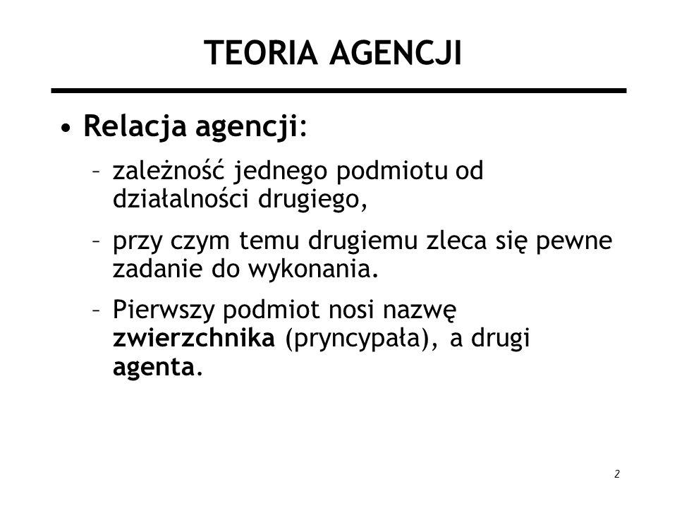 TEORIA AGENCJI Relacja agencji: