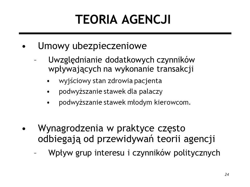TEORIA AGENCJI Umowy ubezpieczeniowe