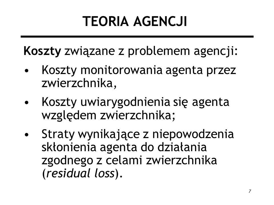 TEORIA AGENCJI Koszty związane z problemem agencji: