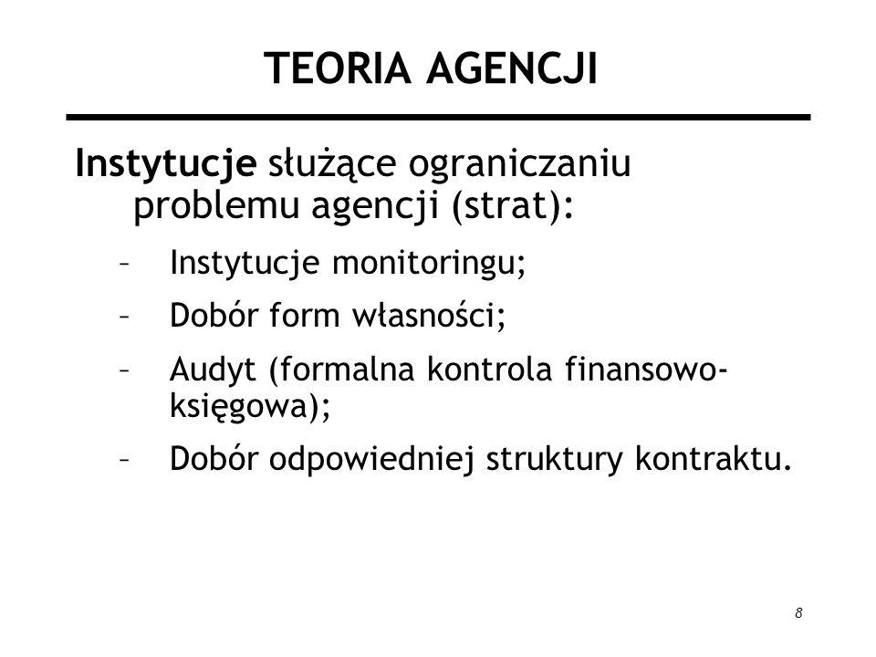 TEORIA AGENCJI Instytucje służące ograniczaniu problemu agencji (strat): Instytucje monitoringu; Dobór form własności;