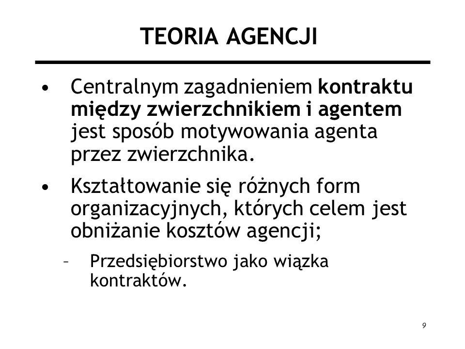 TEORIA AGENCJI Centralnym zagadnieniem kontraktu między zwierzchnikiem i agentem jest sposób motywowania agenta przez zwierzchnika.