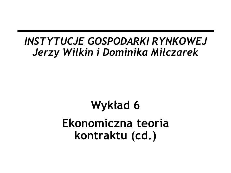 INSTYTUCJE GOSPODARKI RYNKOWEJ Jerzy Wilkin i Dominika Milczarek