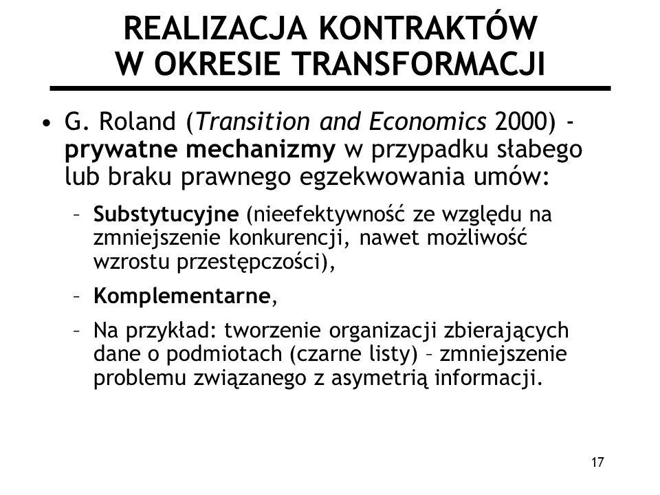 REALIZACJA KONTRAKTÓW W OKRESIE TRANSFORMACJI