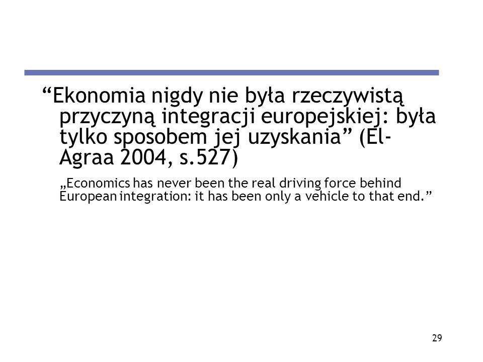 Ekonomia nigdy nie była rzeczywistą przyczyną integracji europejskiej: była tylko sposobem jej uzyskania (El-Agraa 2004, s.527)