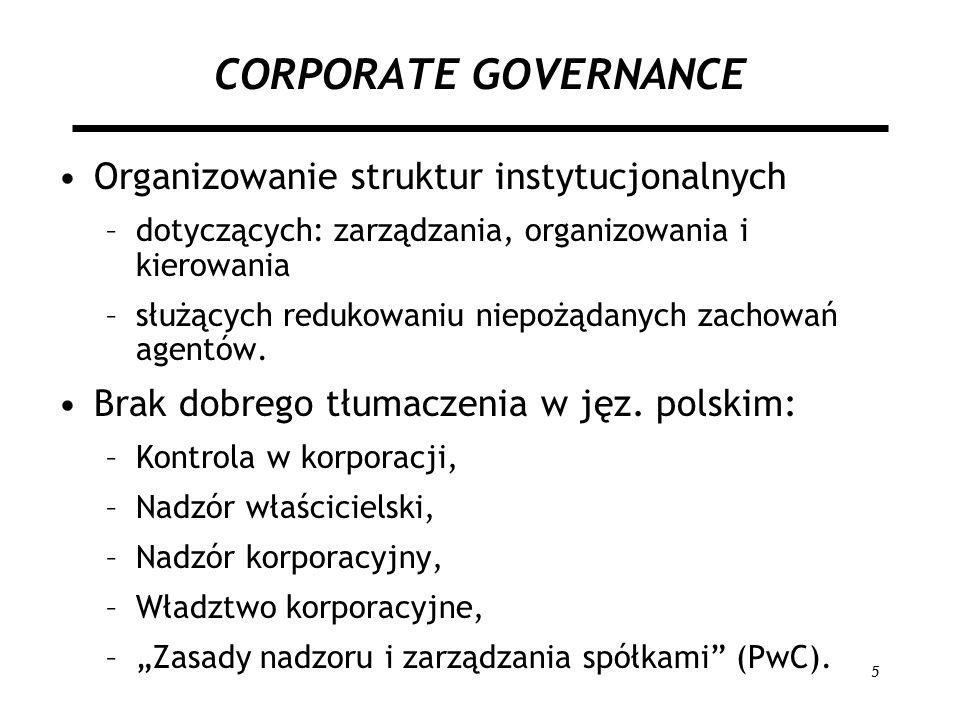 CORPORATE GOVERNANCE Organizowanie struktur instytucjonalnych