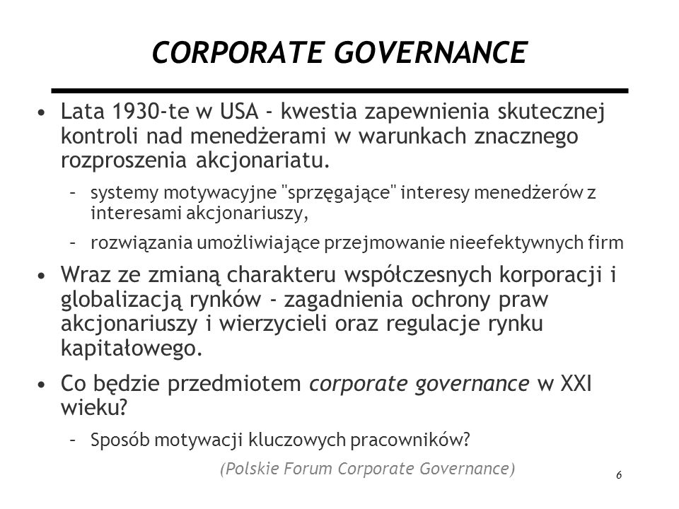 (Polskie Forum Corporate Governance)