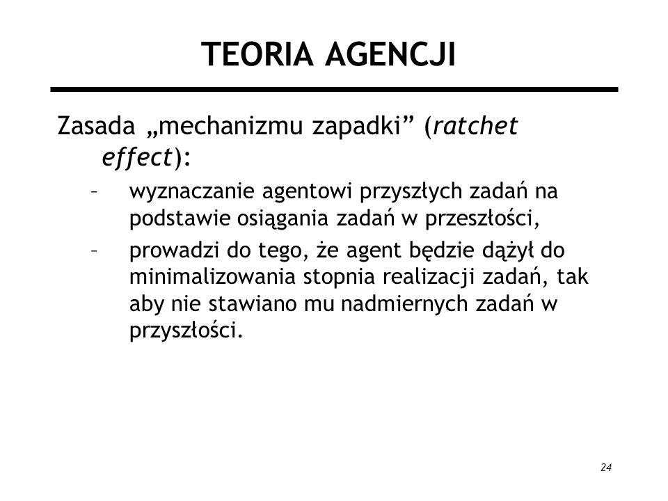 """TEORIA AGENCJI Zasada """"mechanizmu zapadki (ratchet effect):"""
