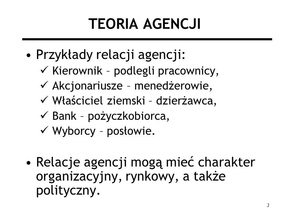 TEORIA AGENCJI Przykłady relacji agencji: