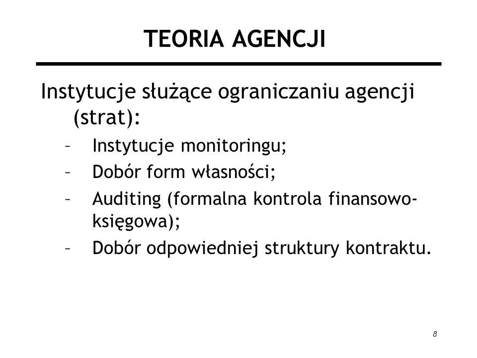 TEORIA AGENCJI Instytucje służące ograniczaniu agencji (strat):