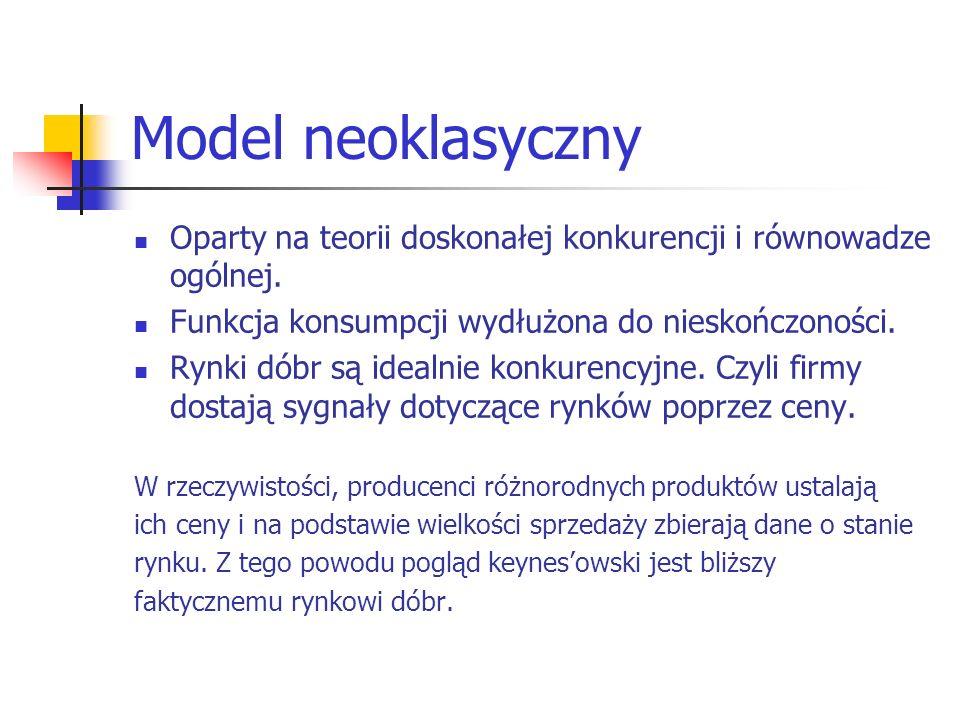 Model neoklasyczny Oparty na teorii doskonałej konkurencji i równowadze ogólnej. Funkcja konsumpcji wydłużona do nieskończoności.