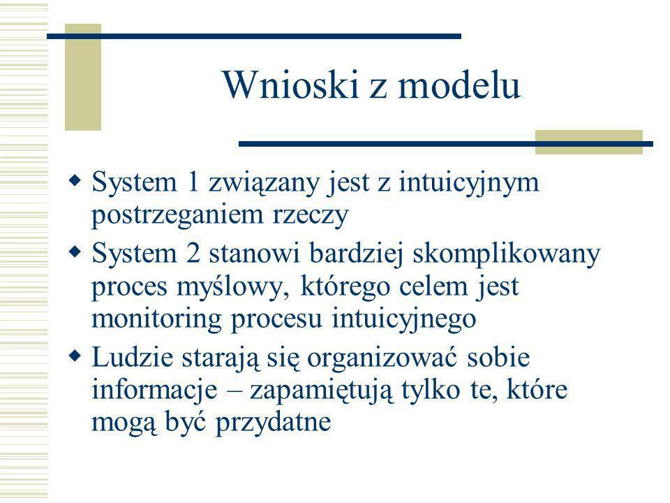 Wnioski z modeluSystem 1 związany jest z intuicyjnym postrzeganiem rzeczy.