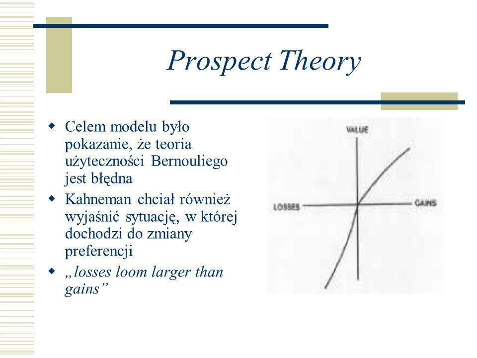 Prospect Theory Celem modelu było pokazanie, że teoria użyteczności Bernouliego jest błędna.