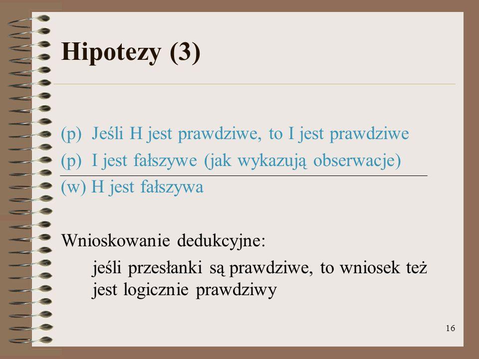 Hipotezy (3) (p) Jeśli H jest prawdziwe, to I jest prawdziwe