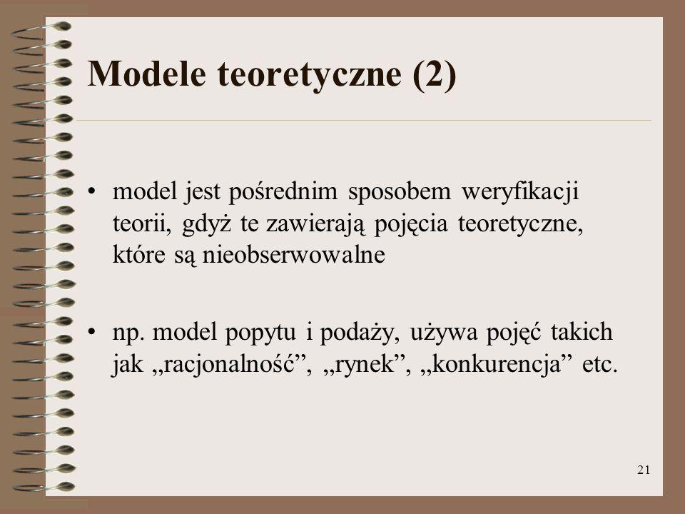 Modele teoretyczne (2) model jest pośrednim sposobem weryfikacji teorii, gdyż te zawierają pojęcia teoretyczne, które są nieobserwowalne.