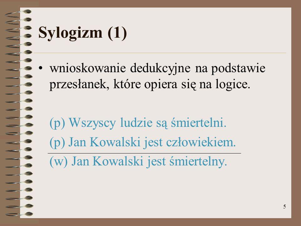 Sylogizm (1) wnioskowanie dedukcyjne na podstawie przesłanek, które opiera się na logice. (p) Wszyscy ludzie są śmiertelni.