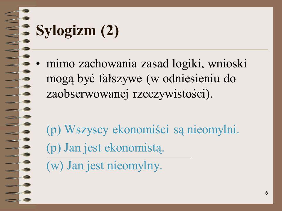 Sylogizm (2) mimo zachowania zasad logiki, wnioski mogą być fałszywe (w odniesieniu do zaobserwowanej rzeczywistości).