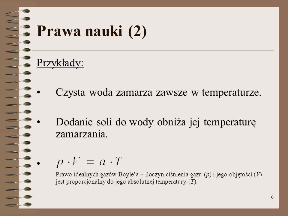 Prawa nauki (2) Przykłady: Czysta woda zamarza zawsze w temperaturze.