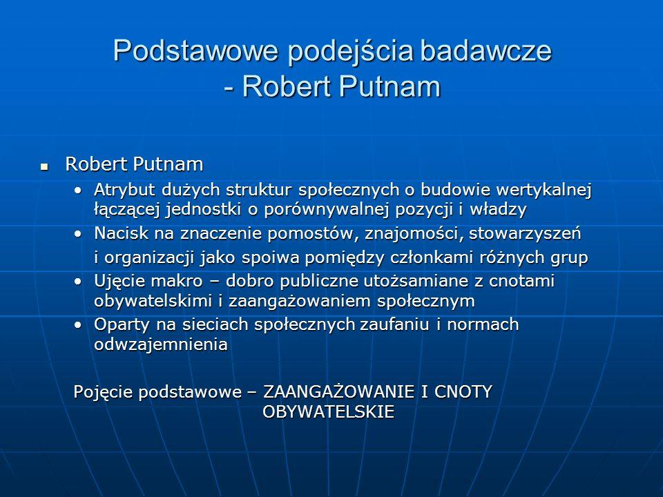 Podstawowe podejścia badawcze - Robert Putnam