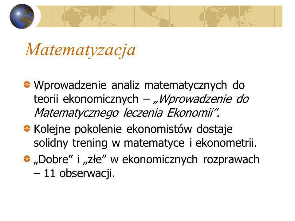 """Matematyzacja Wprowadzenie analiz matematycznych do teorii ekonomicznych – """"Wprowadzenie do Matematycznego leczenia Ekonomii ."""