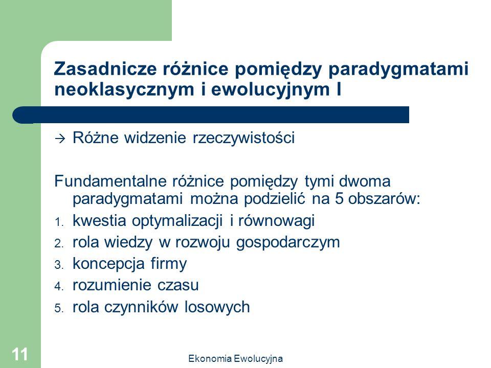 Zasadnicze różnice pomiędzy paradygmatami neoklasycznym i ewolucyjnym I