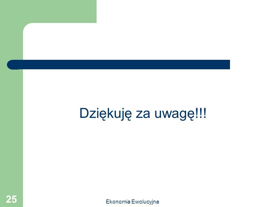 Dziękuję za uwagę!!! Ekonomia Ewolucyjna