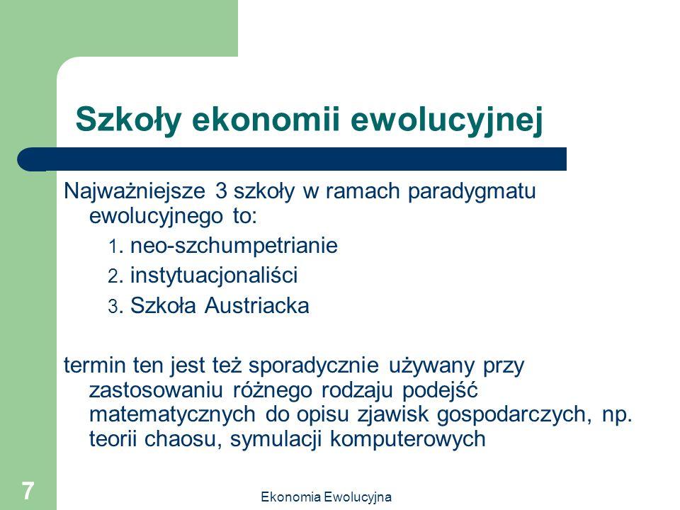 Szkoły ekonomii ewolucyjnej