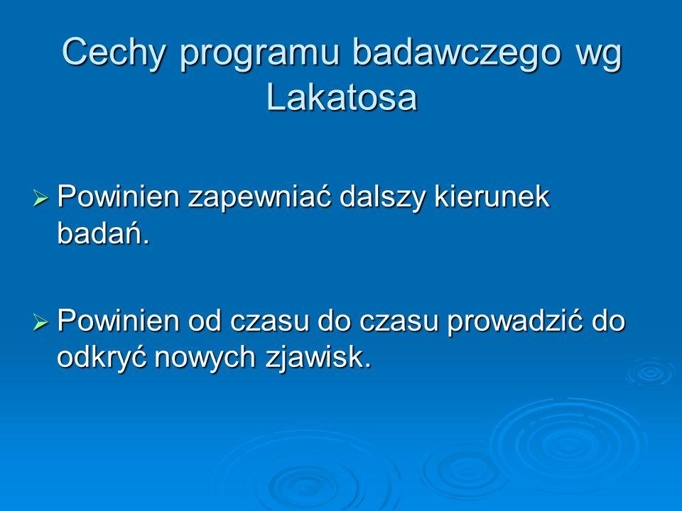 Cechy programu badawczego wg Lakatosa