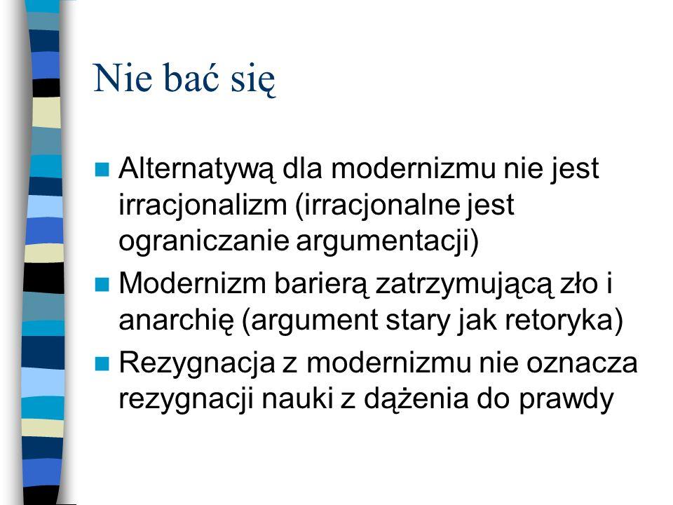 Nie bać się Alternatywą dla modernizmu nie jest irracjonalizm (irracjonalne jest ograniczanie argumentacji)