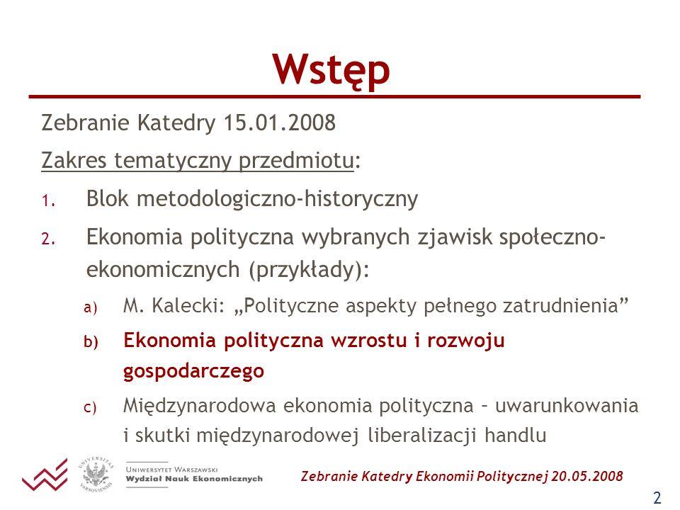 Zebranie Katedry Ekonomii Politycznej 20.05.2008