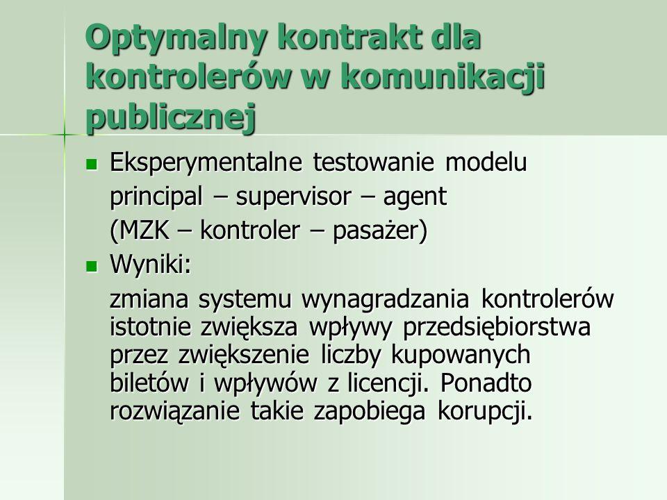 Optymalny kontrakt dla kontrolerów w komunikacji publicznej