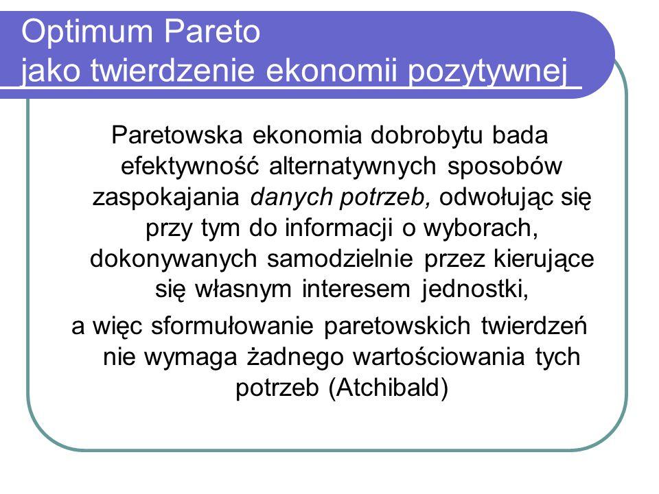 Optimum Pareto jako twierdzenie ekonomii pozytywnej