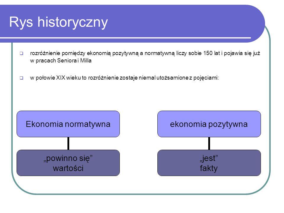 Rys historyczny rozróżnienie pomiędzy ekonomią pozytywną a normatywną liczy sobie 150 lat i pojawia się już w pracach Seniora i Milla.