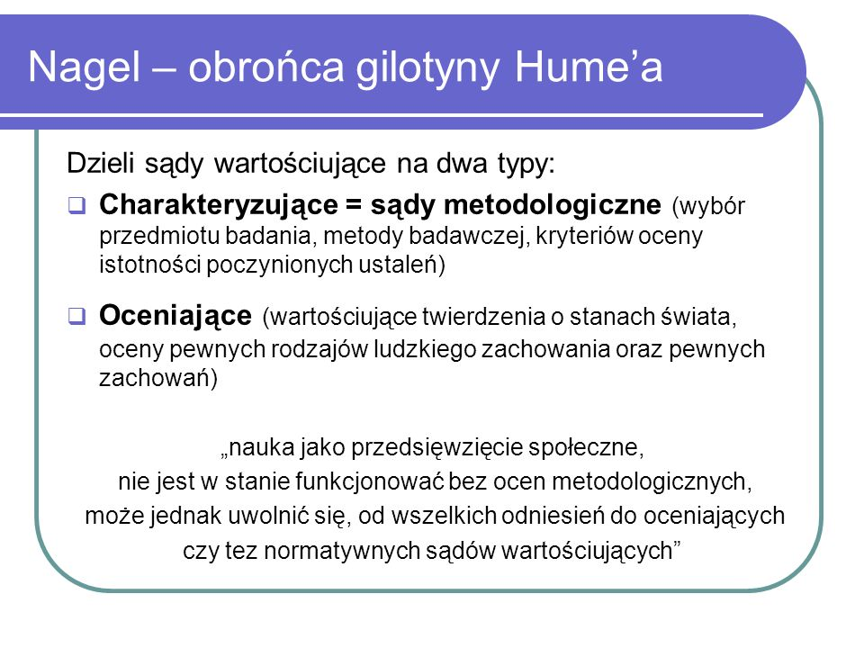 Nagel – obrońca gilotyny Hume'a