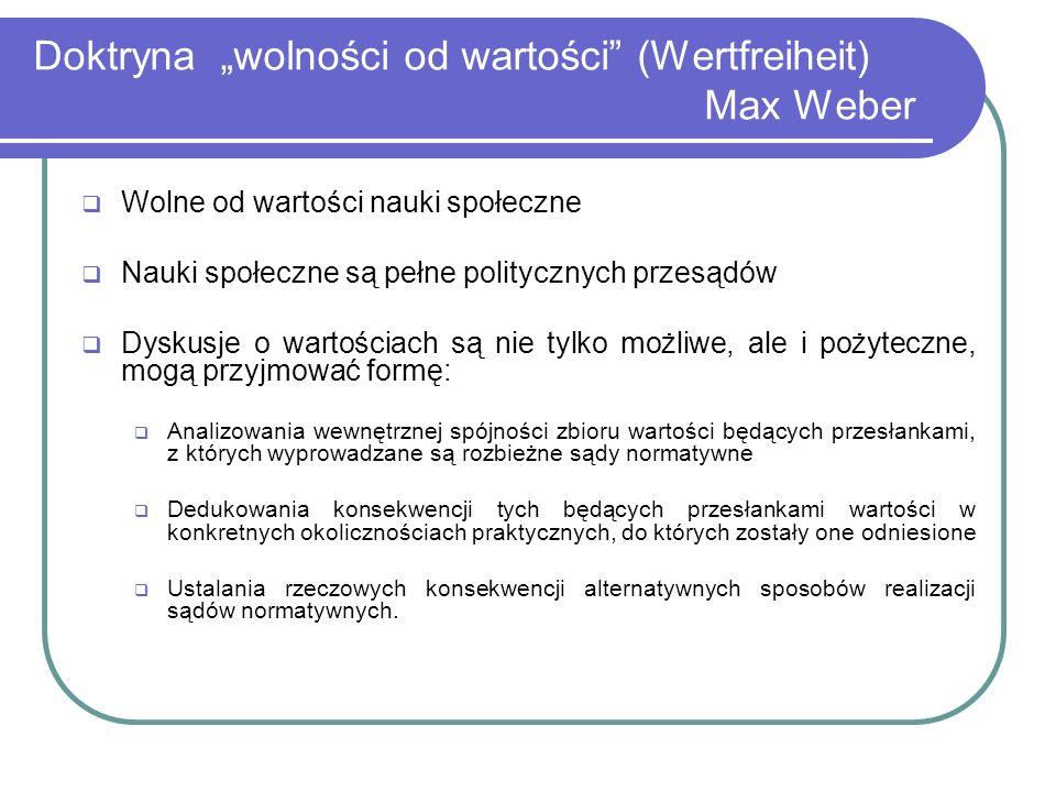 """Doktryna """"wolności od wartości (Wertfreiheit) Max Weber"""