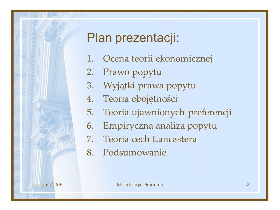 Plan prezentacji: Ocena teorii ekonomicznej Prawo popytu