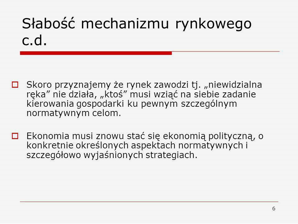Słabość mechanizmu rynkowego c.d.
