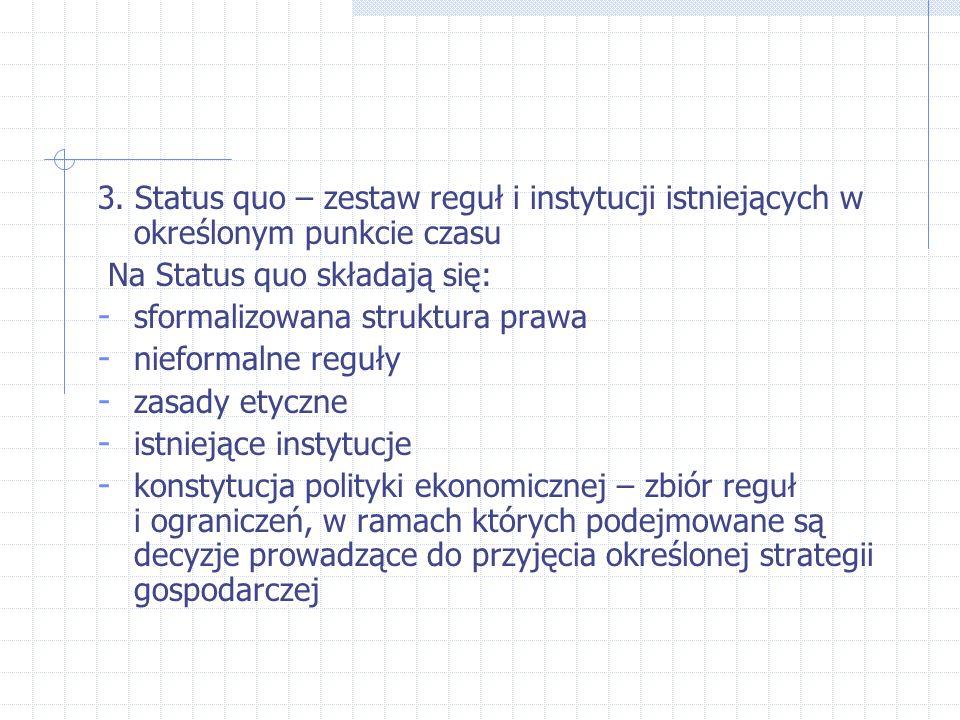 3. Status quo – zestaw reguł i instytucji istniejących w określonym punkcie czasu