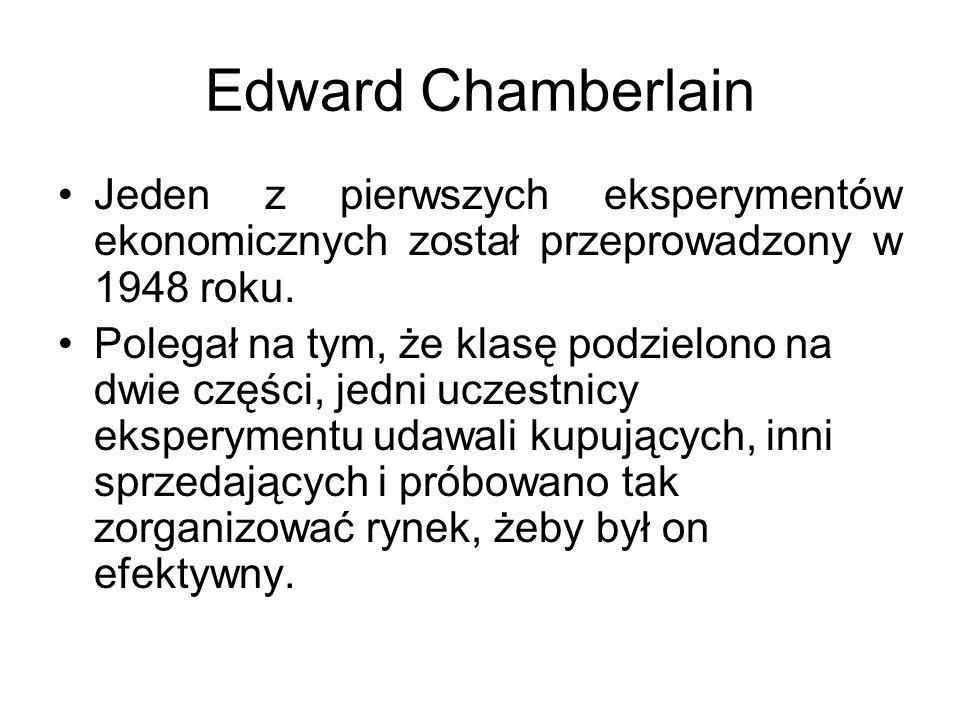 Edward Chamberlain Jeden z pierwszych eksperymentów ekonomicznych został przeprowadzony w 1948 roku.
