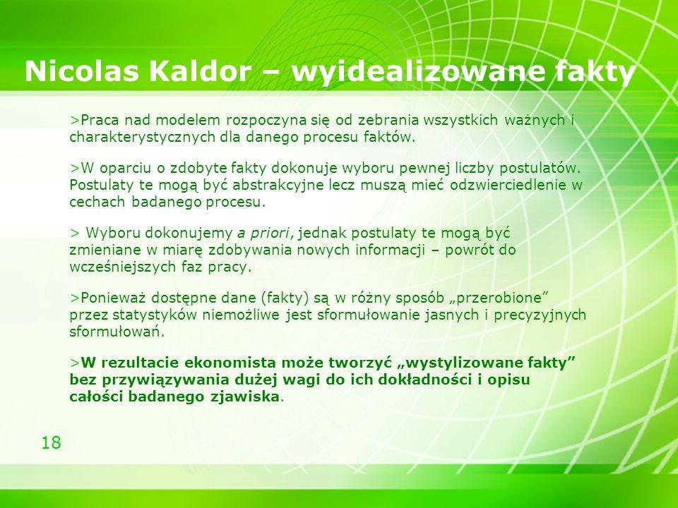 Nicolas Kaldor – wyidealizowane fakty