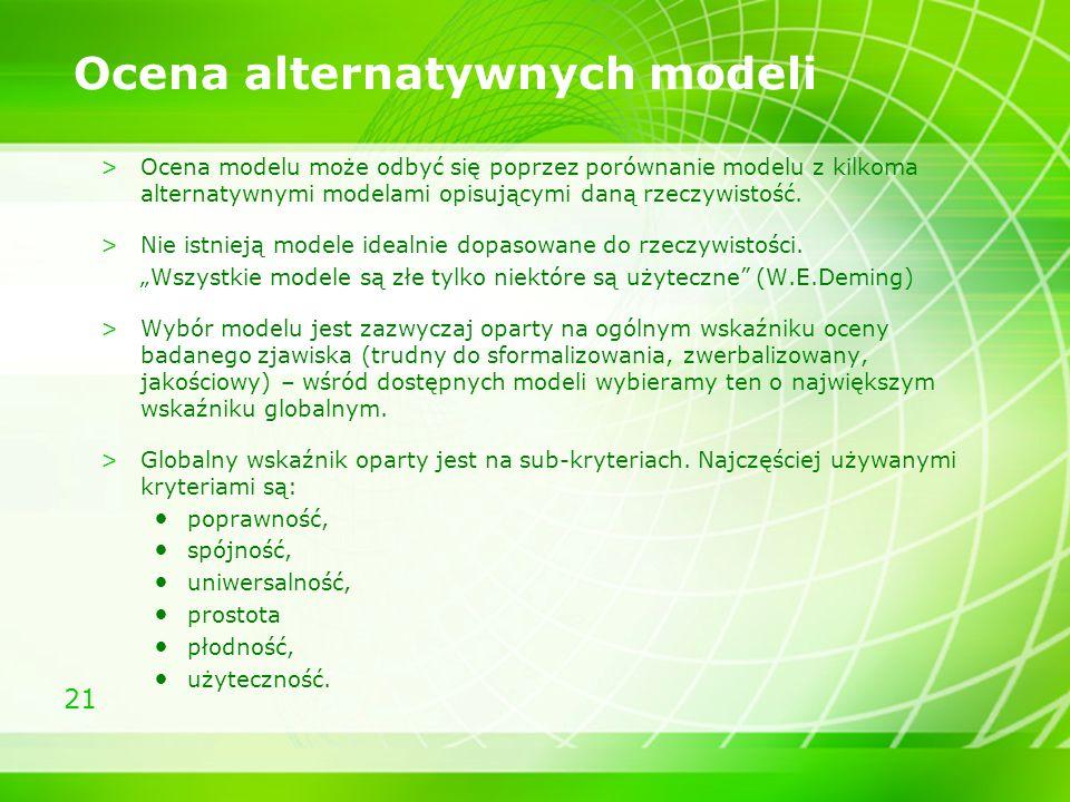 Ocena alternatywnych modeli